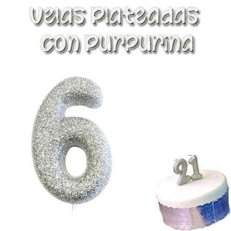 vela tarta plateada con purpurina número 6