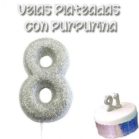 vela plateada glitter numero 8