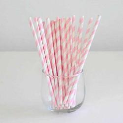Pack de 25 pajitas de papel rayas rosas