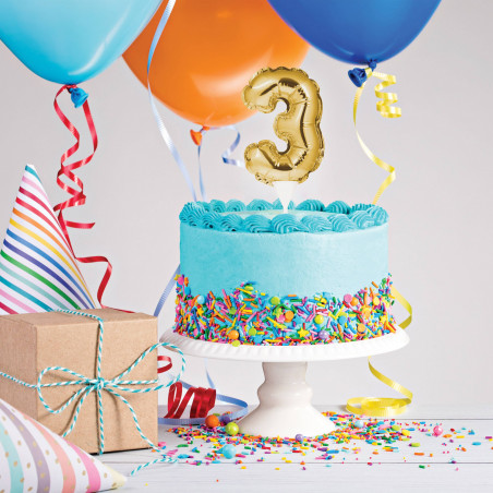 topper tarta globo número 3