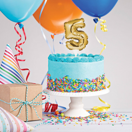 topper tarta globo número 5