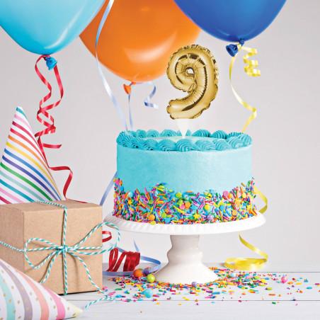 topper tarta globo número 9