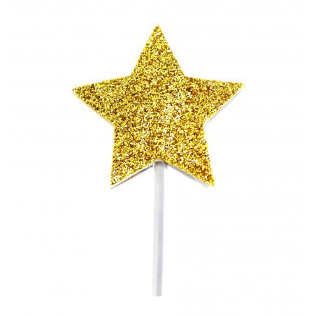 Picks estrellas Glitter doradas