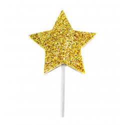 Topper Pincho Corazon Estrella Dorado