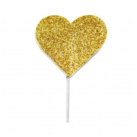 Picks corazon glitter Dorado
