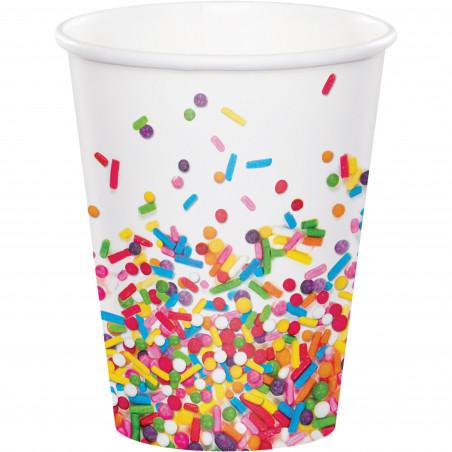 8 vasos desechables feliz cumpleaños