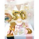 "globos transparentes ""happy birthday"" rosa 30 cm"