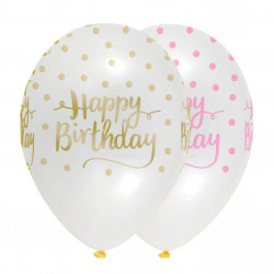 "globos transparentes ""happy birthday"" rosa 30 cm"