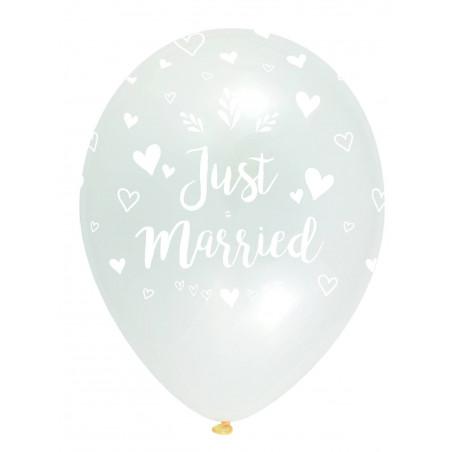 """Globos transparentes """"just married""""  30 cm"""
