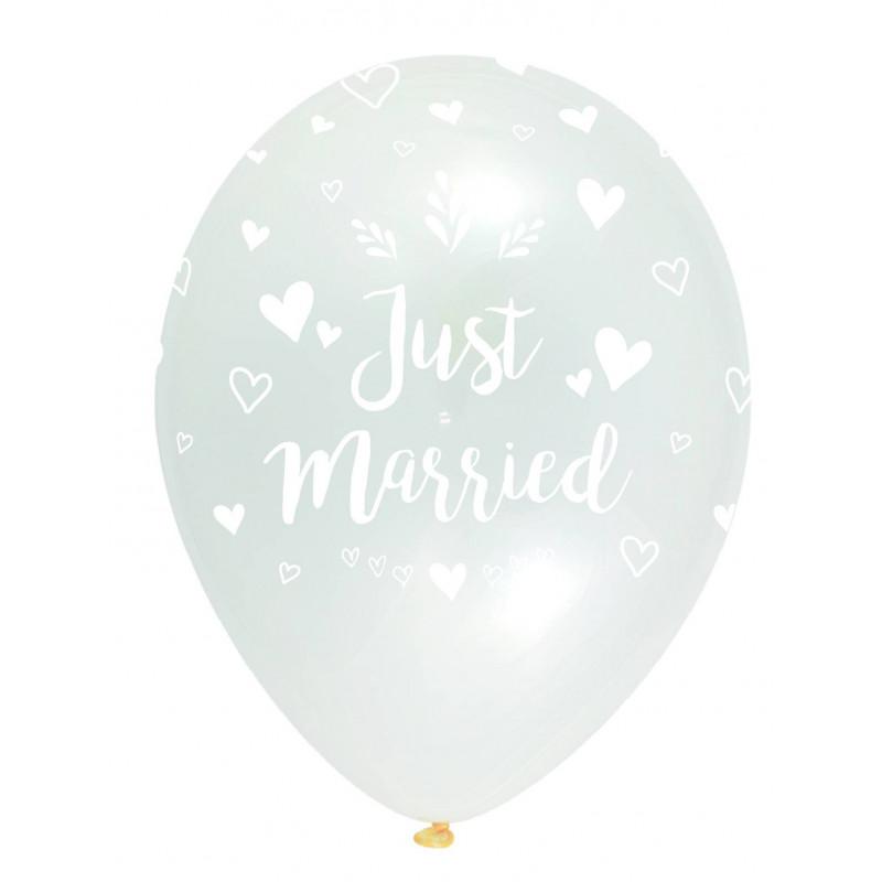 "globos transparentes ""just married"""