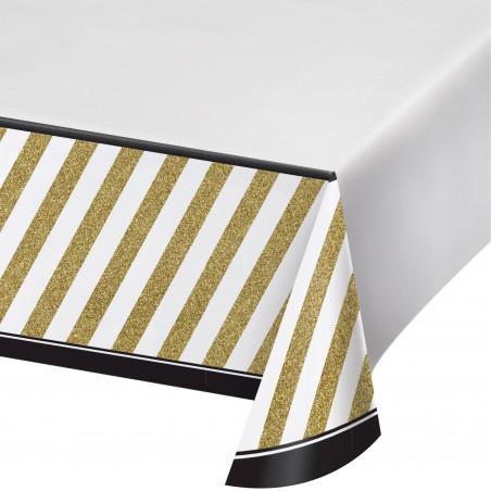 mantel plástico blanco dorado y negro