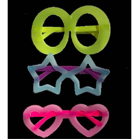 Gafas plástico neon brillan bajo la luz UV