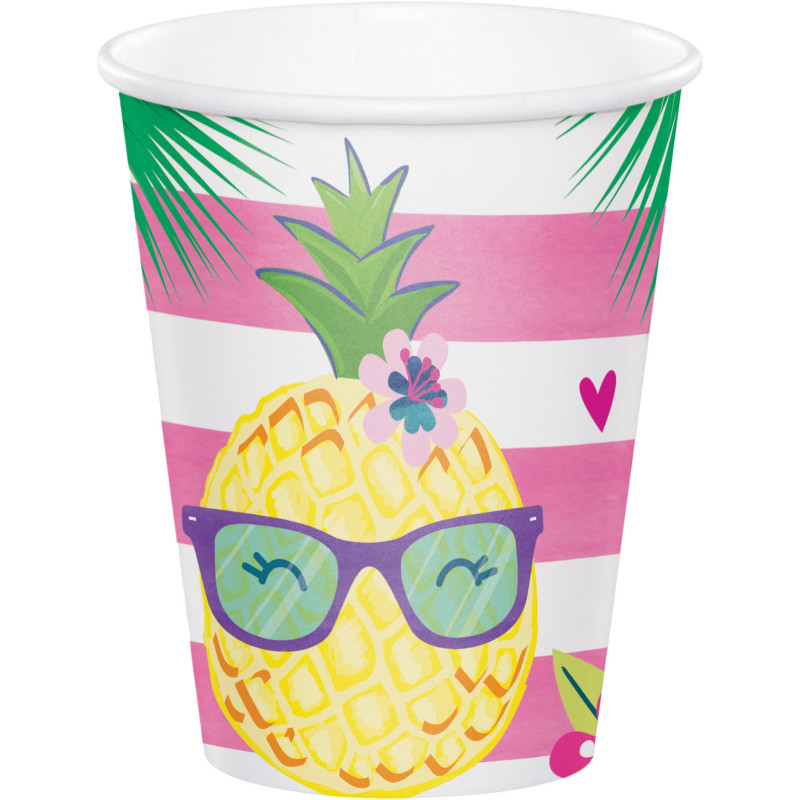 8 vasos desechables fiesta verano Piña