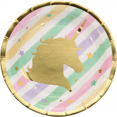 8 platos desechables fiesta Unicornio