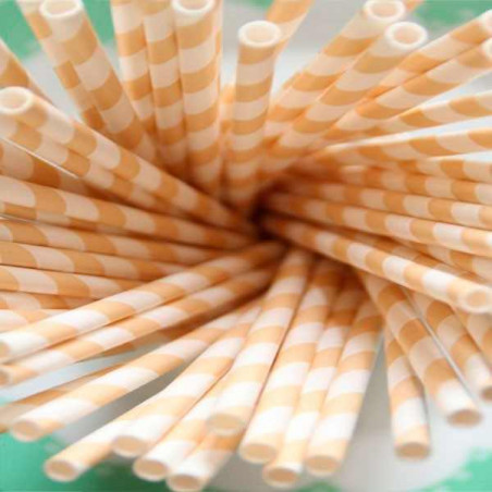Pajitas de papel rayas vainilla