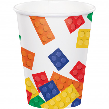 8 vasos desechables fiesta LEGO