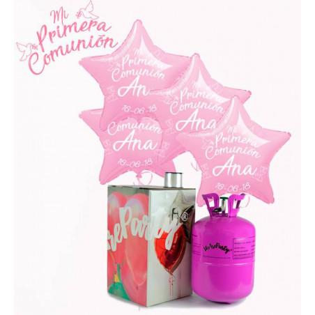 globos personalizados primera comunión rosas