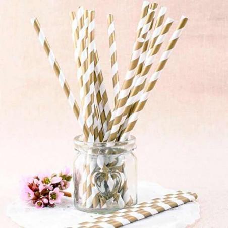 Pajitas de papel rayas doradas
