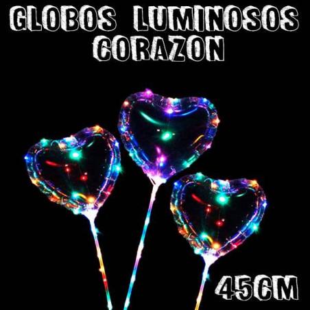 Globos transparentes corazón luminosos