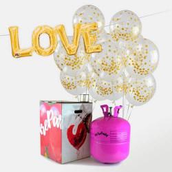 48 globos confeti dorado + bombona helio maxi