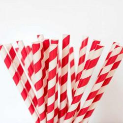pajitas cañas rojas rayas papel