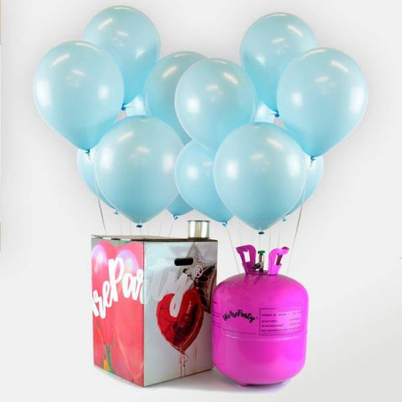 50 globos babyshower azul + bomobona Maxi