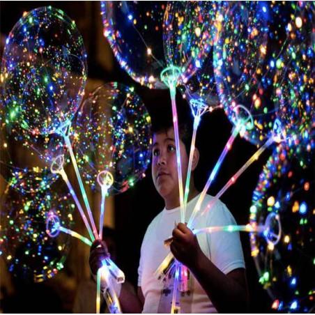 Globos transparantes luz con Palo