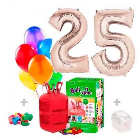 Lote Globos Números Plateados + 30 globos mix