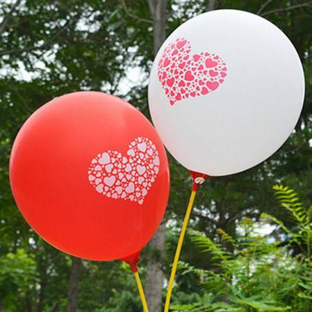 Globos corazón rojos y blancos