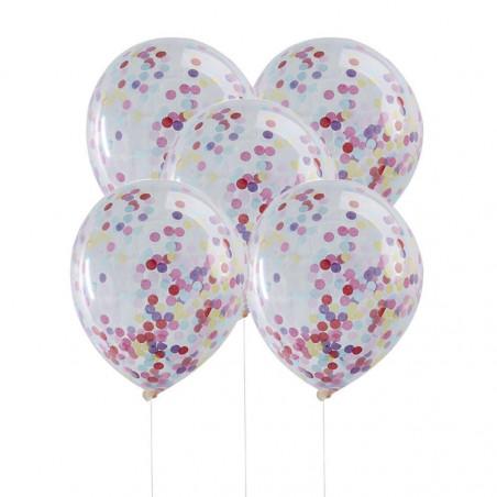 6 globos transparentes con confeti multicolor