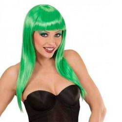 peluca lisa verde neon