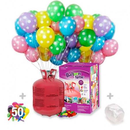 Botella de Helio maxi + 50 globos lunares