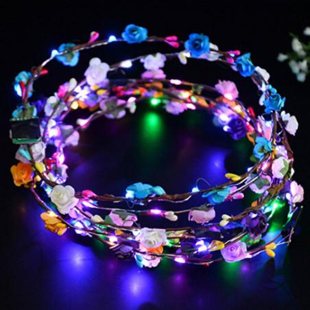 Corona luminosa con flores Hippie