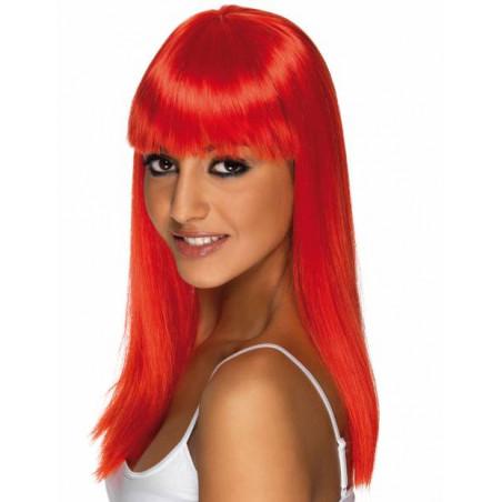 peluca lisa roja neon