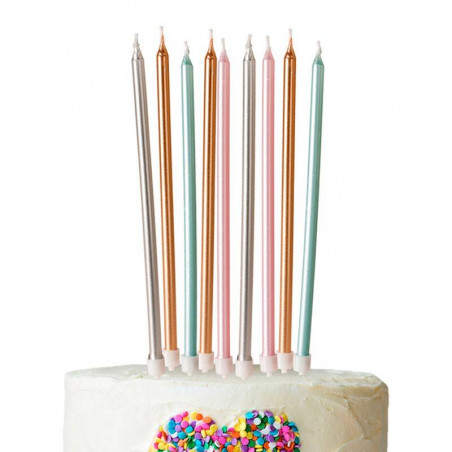 16 velas metálicas 13 cm tarta