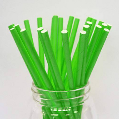 Pajitas biodegradables verdes lisas