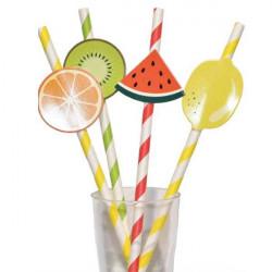 pajitas papel frutas cocteles verano