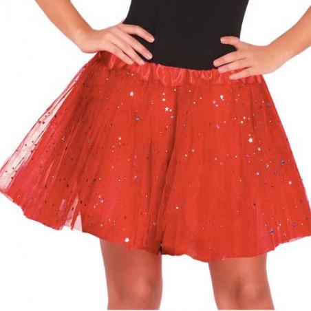 Falda tutu Rojo purpurina 30 cm