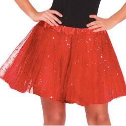 Falda tutu Rojo purpurina infantil 30 cm