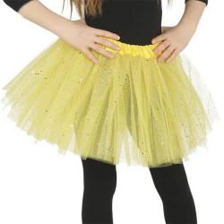 Falda tutu amarillo purpurina infantil 30 cm