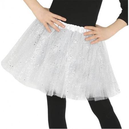 Falda tutu blanco purpurina 30 cm