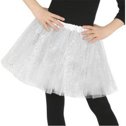 Falda tutu blanco purpurina infantil 30 cm