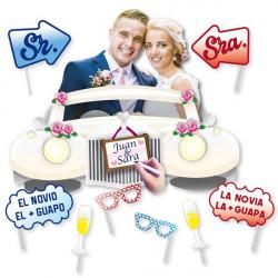 Marco photocall boda con accesorios