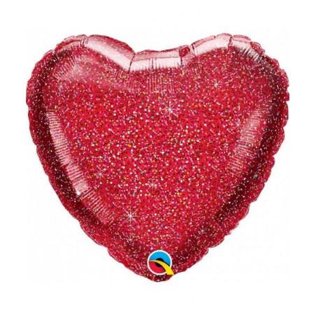 Globo corazón rojo purpurina Foil 45 cm