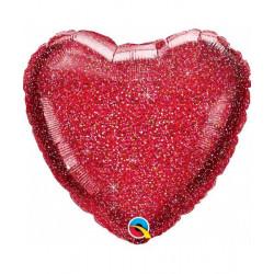 globo corazón purpurina helio