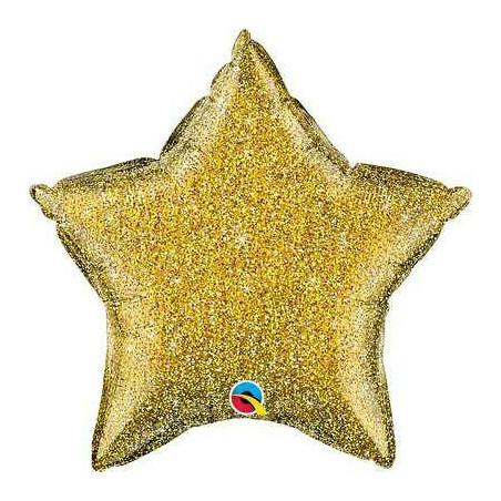 Globo foil estrella Glitter Oro 50cm