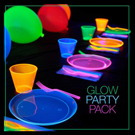 Platos que brillan luz ultravioleta fiesta luminosas