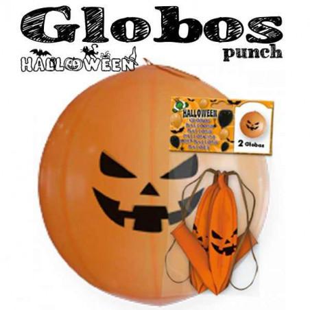 2 Globos punch Calabaza Halloween 45cm