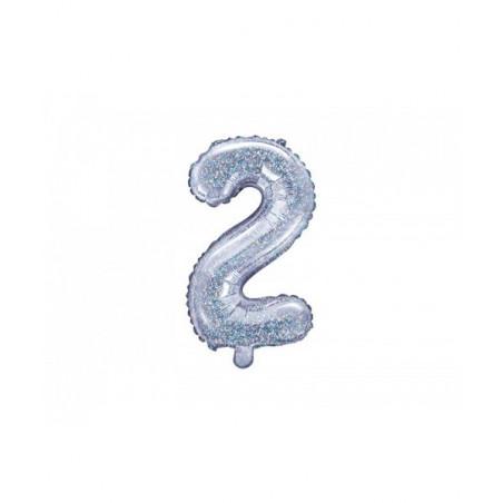 Globo Numero 2 Foil 35 cm purpurina