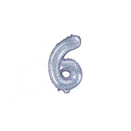 Globo Numero 6 Foil 35 cm purpurina